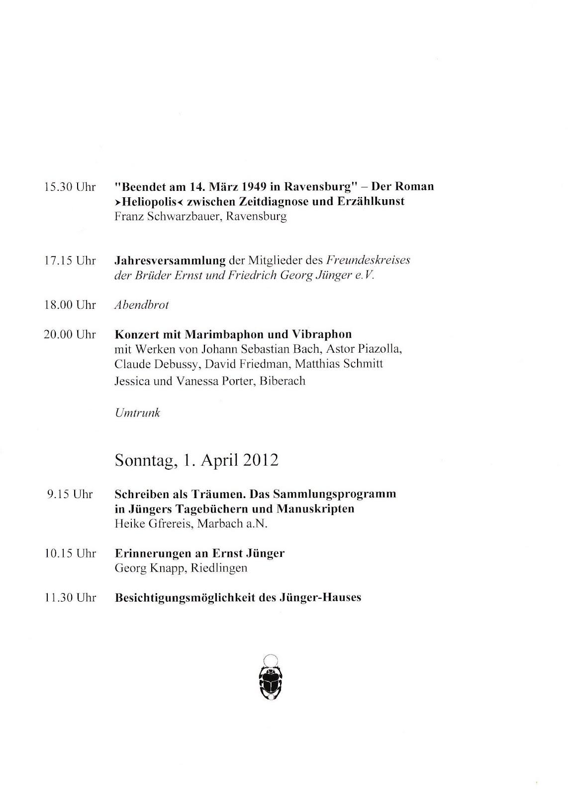 ernst jünger: march 2012, Einladung