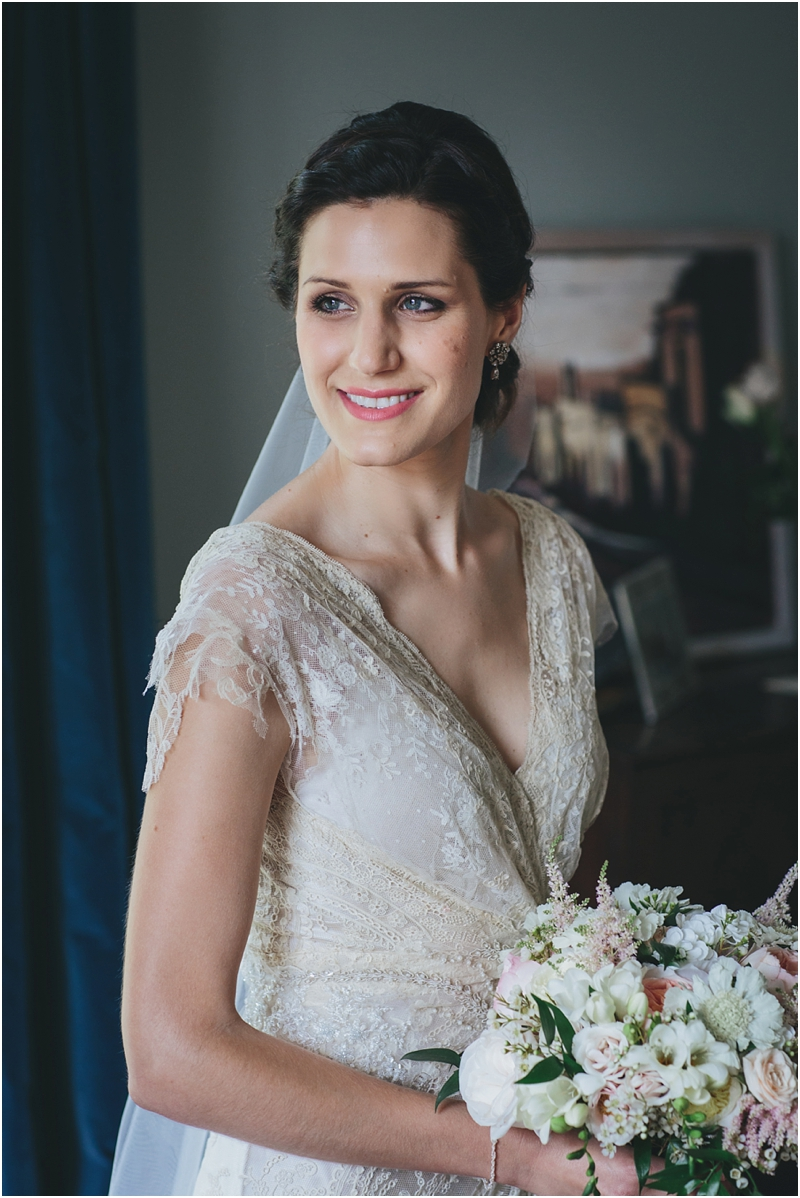 Bridal portrait in beautiful antique lace wedding dress
