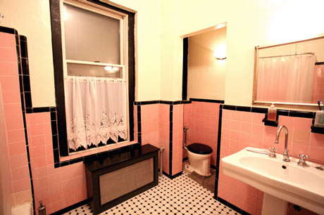 Tenant proof design art deco bathrooms for Pink black and white bathroom ideas