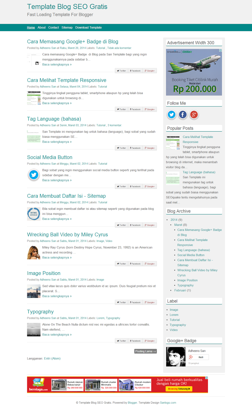 Template Blog SEO Gratis Fast Loading Template For Blogger - San Template