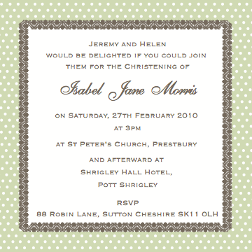 CocoCards: Christening invitation wording - just some ideas