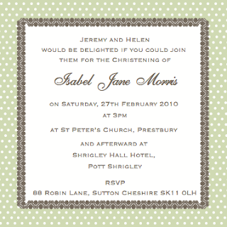 Christening invite wording - formal