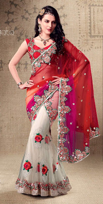 Alluring Red & Ivory Embroidered Saree