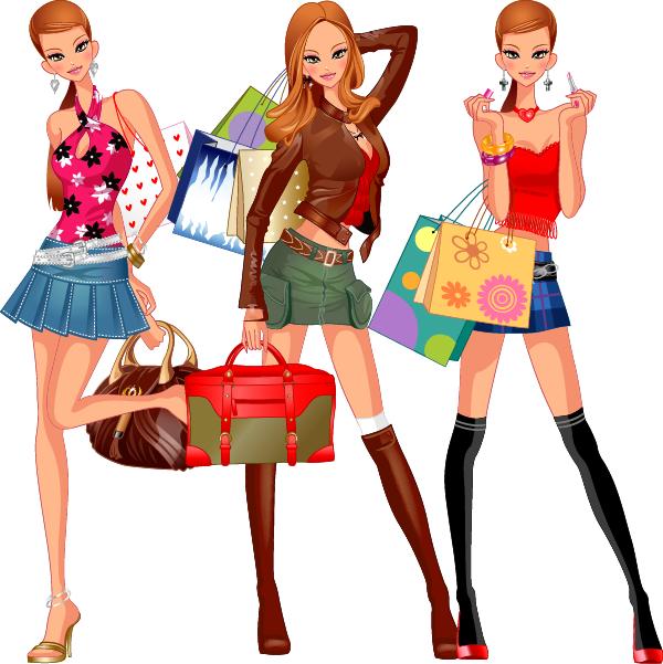 mujer muy mona de compras a