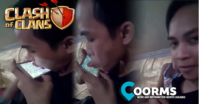 Pinoy guy plays clash of clans by using its tongue