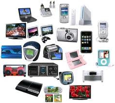 an array of different kinds of electronics