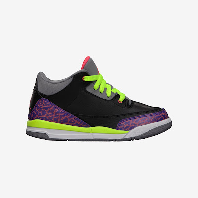 Air Jordan 3 Retro (10.5c-3y) Girls' Shoe Black/Atomic Red-Cement Grey, Style - Color # 441141-039