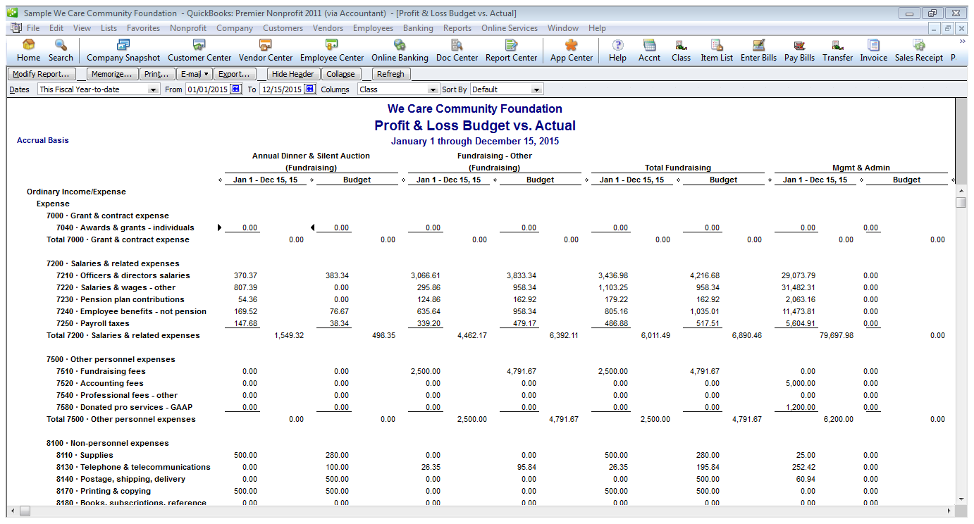 Why the QuickBooks Class Feature is a Nonprofits Best Friend – Sample Non Profit Budget