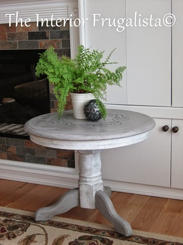 Round pedestal medallion table makeover After