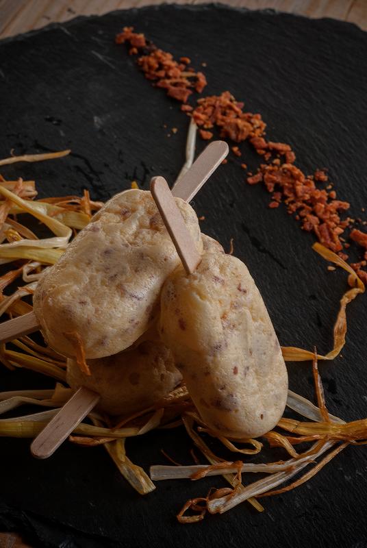 mini polos de tortilla de patata con crujiente de jamón