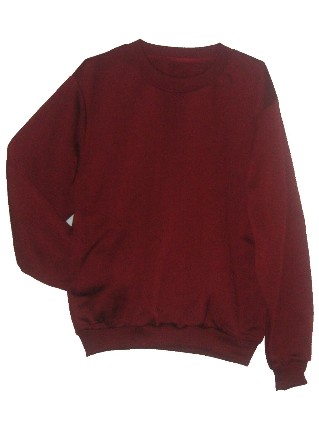 เสื้อคอกลม กันหนาว สีแดงเลือดนก