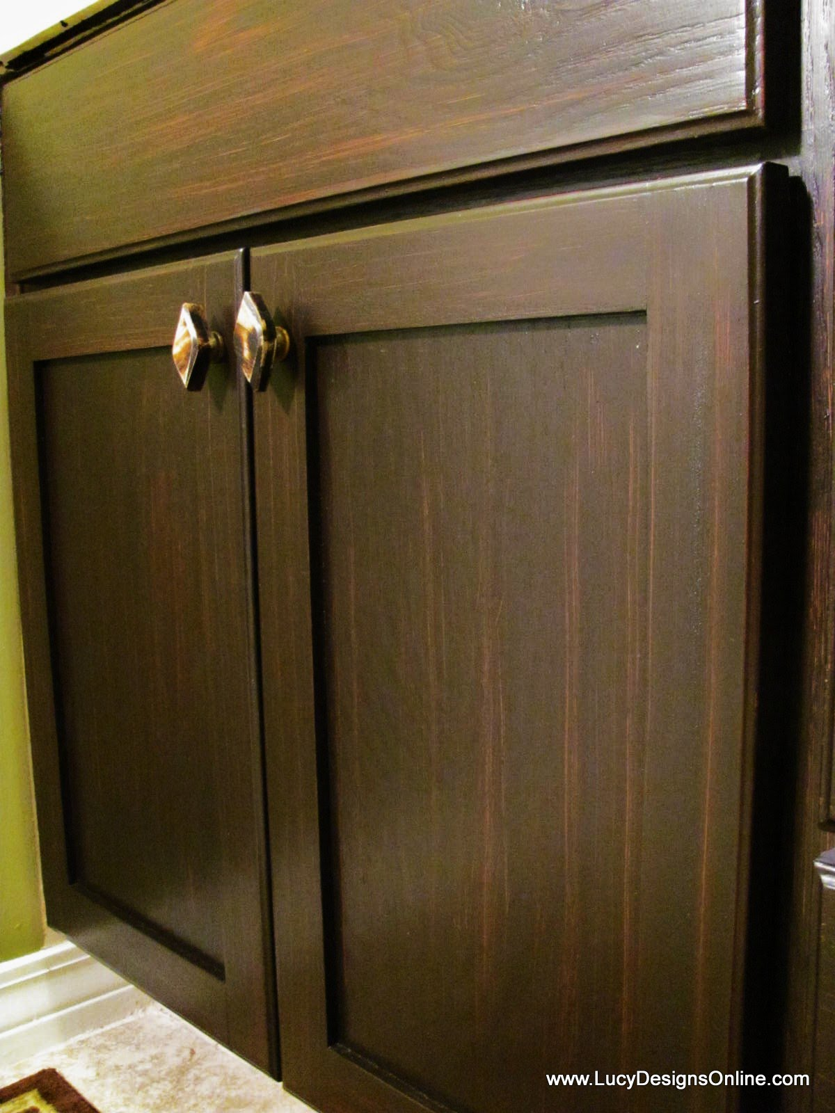 how to use gel stain diy gel stained master bath cabinet makeover lucy designs - Cabinet Stain
