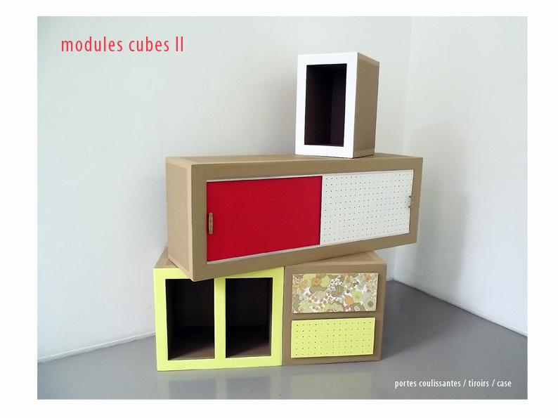 meuble en carton. case, tiroir et porte.module à assembler. création sur mesure. meuble en carton fabriqué à marseille par juliadesign.