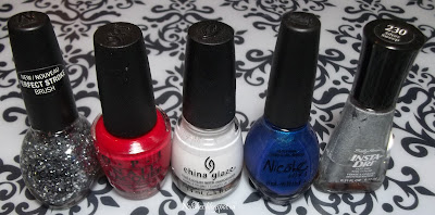 Nicole by OPI 'Make U Smile', OPI 'Color so Hot it Berns', China Glaze 'White on White', Nicole by OPI 'It's up to You' and Sally Hansen Xtreme Wear 'Silver Sweep'