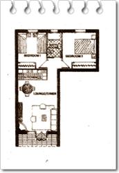 Croquis orientativo de la composición de un apartamento de 2 dormitorios, pues estos varían en cuanto a su distribución