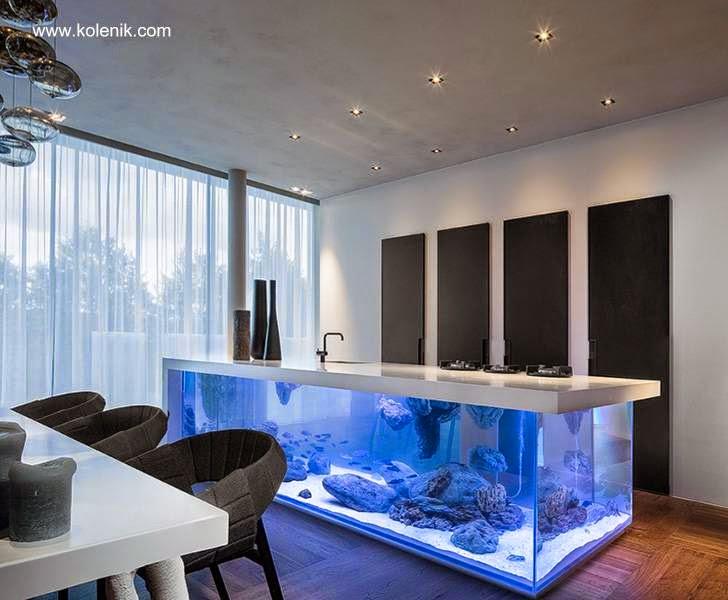 Arquitectura de Casas: Modelo de cocina integral moderna con acuario.