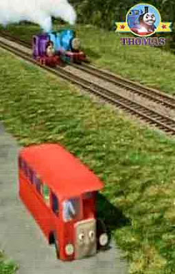 Thomas and friends Charlie tank engine with Edward the blue engine chase along after Bertie the bus