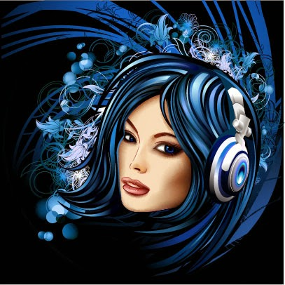 Chicas Disc-jockey - Vector