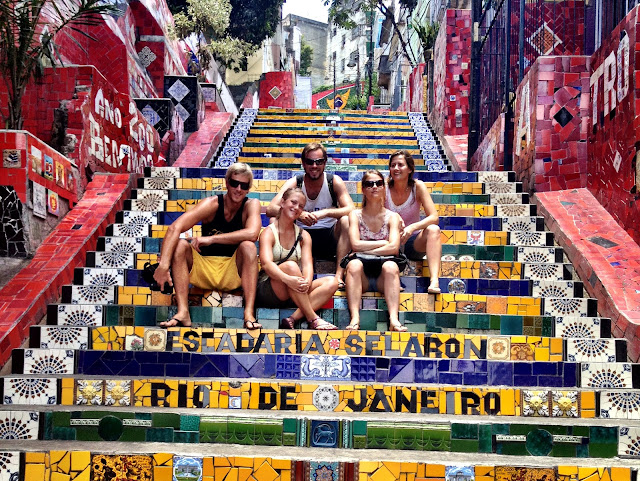 Sitting on Lapa steps, Rio de Janeiro