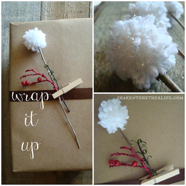 DIY Snow Sprinkled Pom Pom Flowers