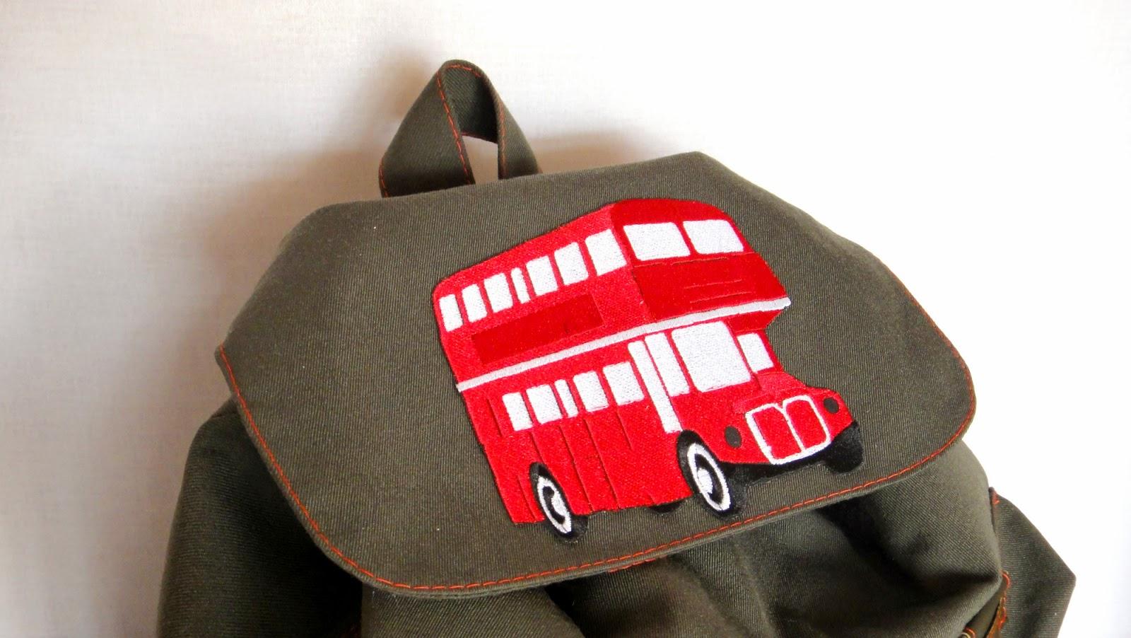 Рюкзак в лондонском стиле Красный автобус, двухэтажный автобус - рюкзак для школы