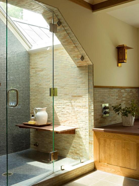 Design Dusche Dark Night : Shower with Slanted Ceiling