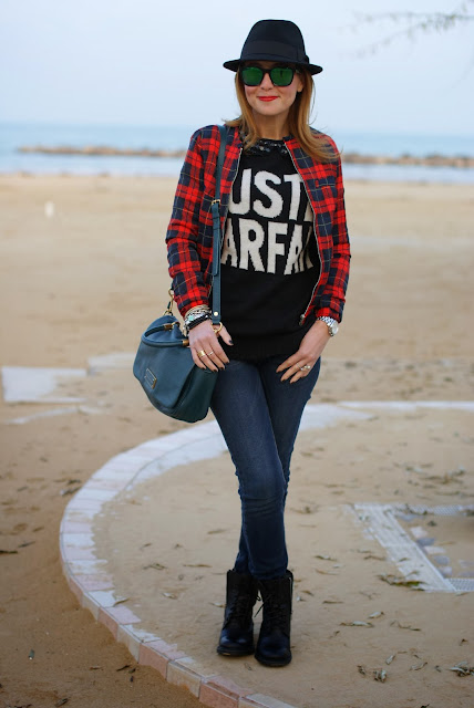 checked jacket, just parfait sweater, combat boots, Fashion and Cookies, fashion blogger