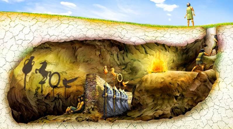 Para Platón, la caverna representa el mundo de las apariencias, mientras que el exterior es el mundo de lo real