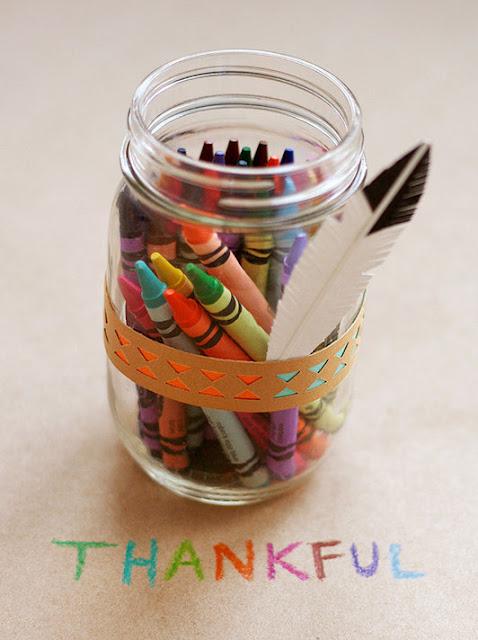 Thanksgiving kids table crayon jar