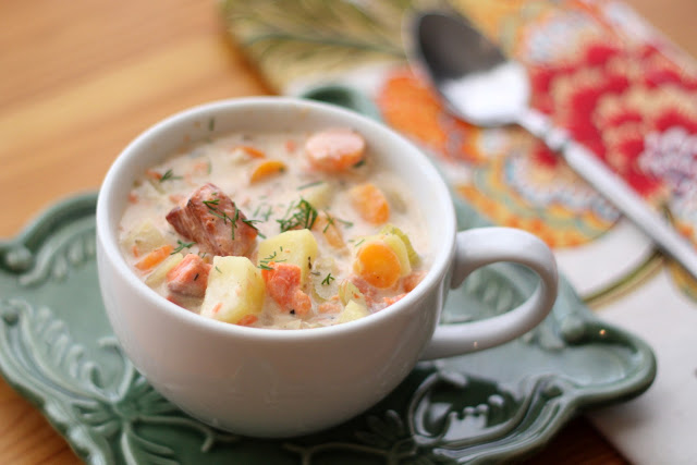 Smoked Salmon Chowder recipe by Barefeet In The Kitchen