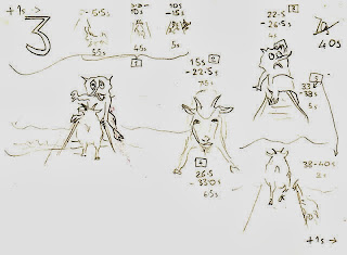 Storyboard scene 3: second goat crosses troll bridge.