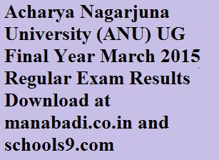 Acharya Nagarjuna University (ANU) UG Final Year March 2015 Regular Exam Results Download at manabadi.co.in and schools9.com