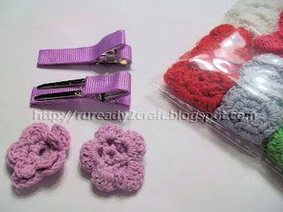 embellished crochet applique on lined hair clips craft