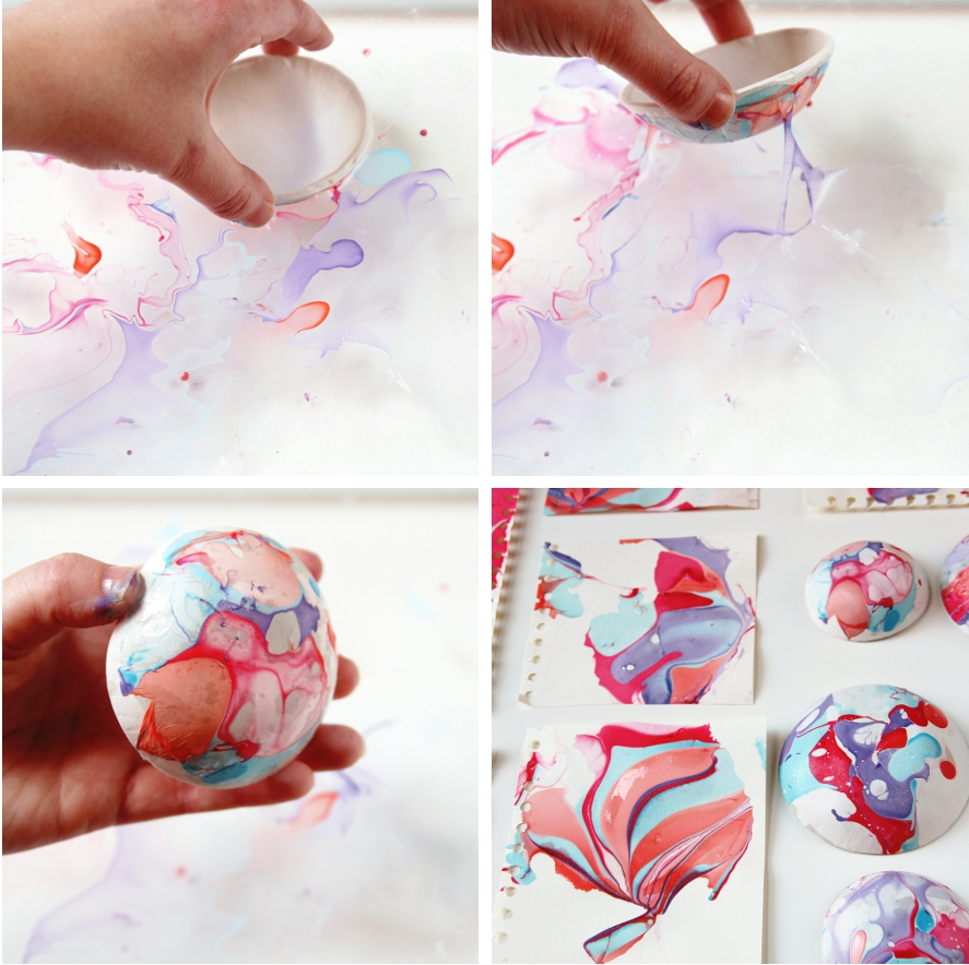 Diy Marbled Clay Bowls using nail varnish.