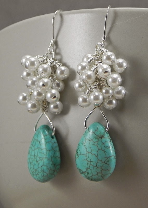 Earrings Turquoise and Pearl