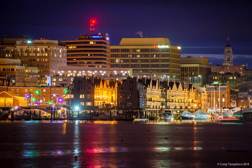 Portland, Maine USA Night Skyline in the winter across the harbor December 2014 photo by Corey Templeton