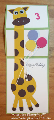 Giraffe punch art card with a fancy fold expanding neck