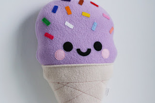 Lilac Ice Cream Cushion, Pastel, Sprinkles Pretty New