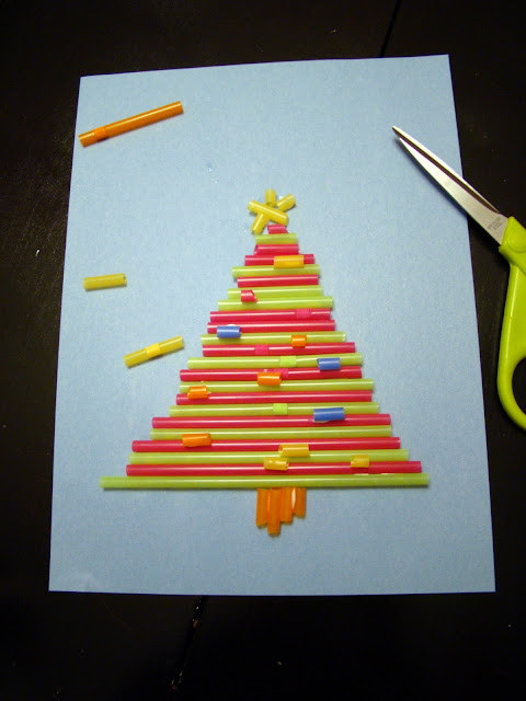 Drinking straw Christmas tree craft
