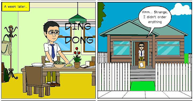 "Cartoon (panel 2) of Cat Ordering Mug from Zazzle ""Proud of Saving Animals"" by RoseWrites"