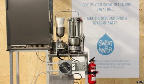 Máquina convierte el sudor en agua potable