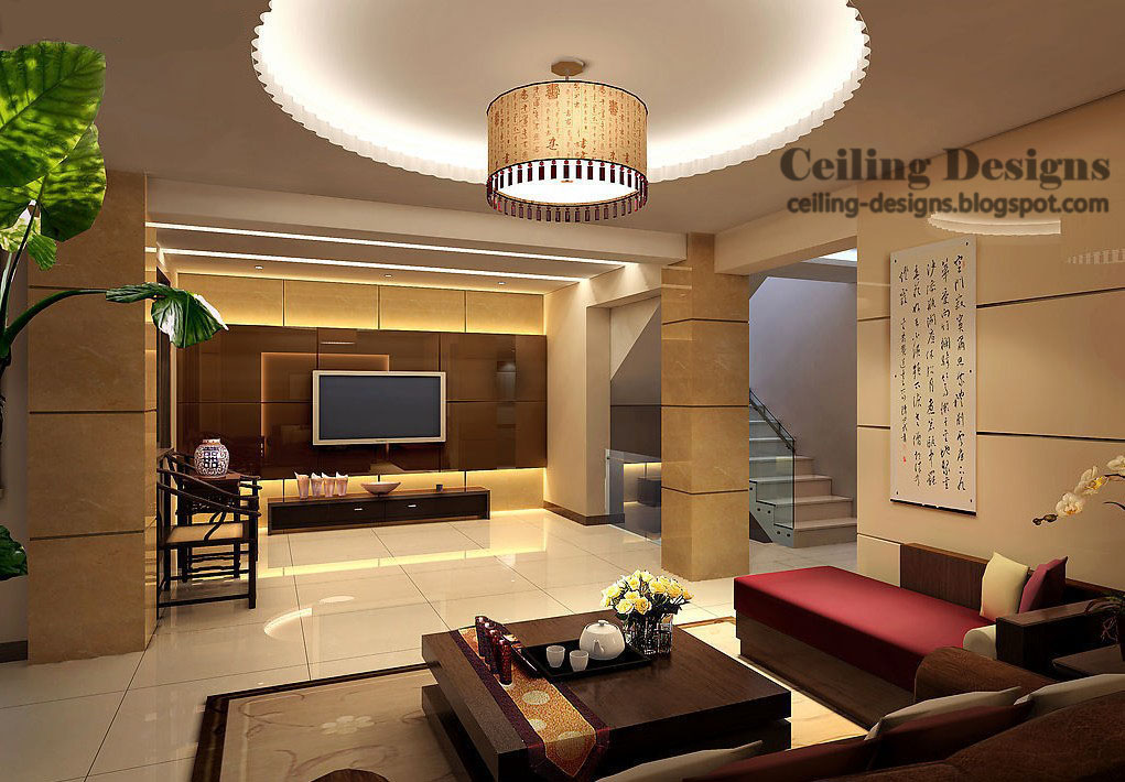 Superbe A Tray Ceiling Design Made Of Gypsum With Hidden Lighting And Cloth  Chandelier For Living Room In Modern Homes