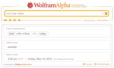 Búsqueda sobre el próximo eclipse solar en Wolfram Alpha