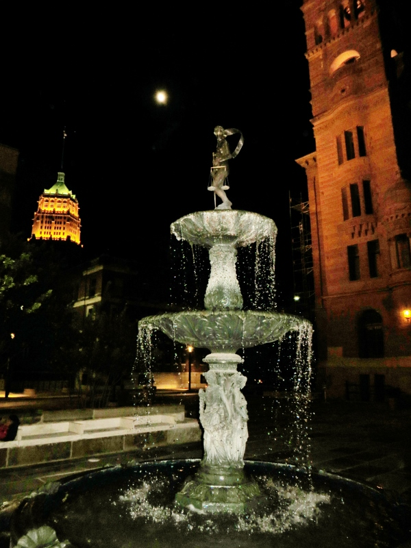 Lady Justice Fountain in front of Bexar County Courthouse, San Antonio,Texas - September 6, 2014