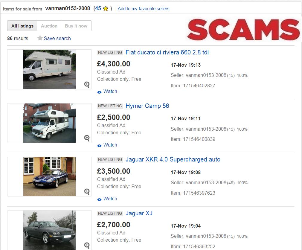 SCAM : EBAY MOTORS DEALER HIJACK vanman0153-2008 c. 35 FRAUD ...