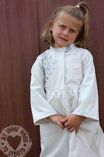 Girls White Trench Coat with Painted Design