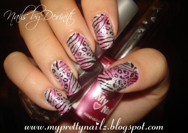 My Pretty Nailz Pink And Silver Sponge Gradient Animal Print Konad