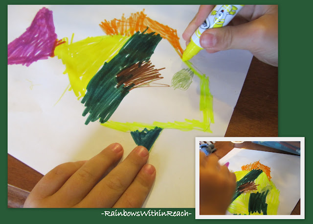 photo of: Kindergarten Drawing Practice, Coloring with Magic Markers
