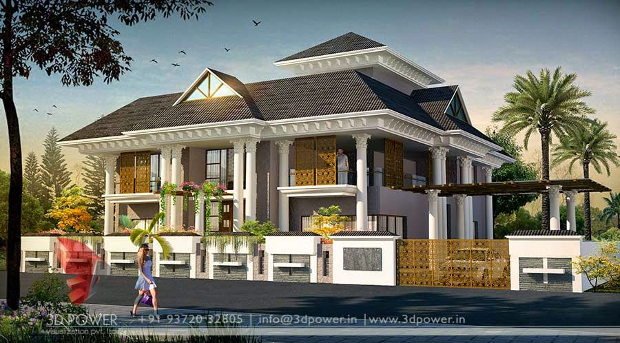 3D Exterior Elevation  Of  Roof  Pattern  Bungalow