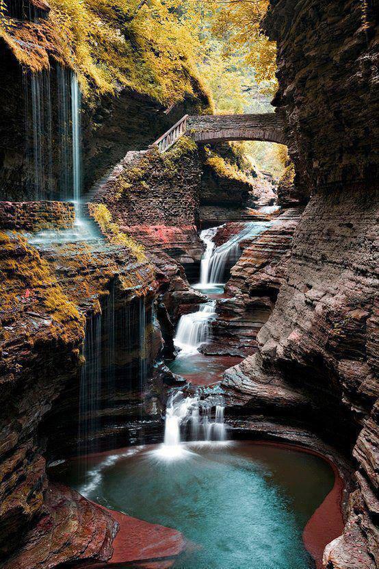 waterfalls in a part - Watkins Glen State Park - New York